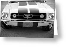 67 Mustang Front In Black Greeting Card