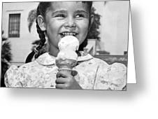 Girl With Ice Cream Cone Greeting Card