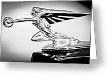 1935 Packard Hood Ornament -0295bw Greeting Card
