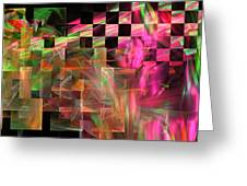 Abstract Checkered Pattern Fractal Flame Greeting Card