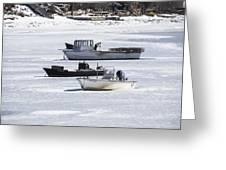 Boat And Ice Hobart Beach Ny Greeting Card