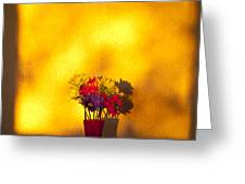 Daisies In A Vase On Shelf Greeting Card