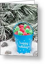 Decorative Pail Of Christmas Candy Greeting Card