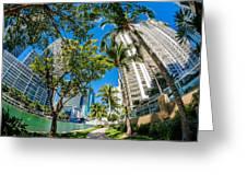 Downtown Miami Brickell Fisheye Greeting Card