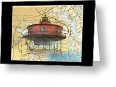 7 Ft Knoll Lighthouse Md Nautical Chart Map Art Cathy Peek Greeting Card