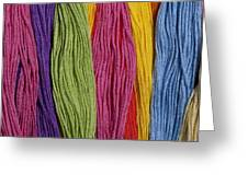 Multicolored Embroidery Thread In Rows Greeting Card