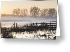 Panorama Landscape Of Lake In Mist With Sun Glow At Sunrise Greeting Card
