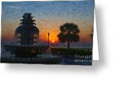 Pineapple Fountain At Dawn Greeting Card