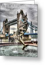 Tower Bridge And The Girl And Dolphin Statue Greeting Card