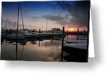 Yachts At Sunset Greeting Card