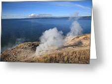 Yellowstone Lake And Geysers Greeting Card