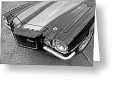 71 Camaro Z28 In Black And White Greeting Card