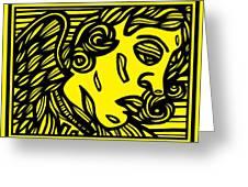 Dusseault Angel Cherub Yellow Black Greeting Card
