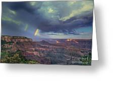 749220049 Double Rainbow Cape Royal North Rim Grand Canyon National Park Greeting Card