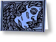 Bouthillette Angel Cherub Blue Black Greeting Card