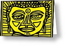 Jakubek Buddha Yellow Black Greeting Card