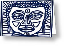 Trivane Buddha Blue White Greeting Card