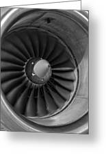 757 Engine Black And White Greeting Card