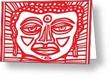 Barbot Buddha Red White Greeting Card