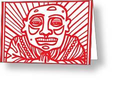Pisco Buddha Red White Greeting Card