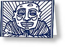 Frisby Buddha Blue White Greeting Card