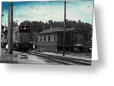 760 Train Engine Passing The Station Sc Textured Greeting Card