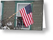 #762 D68 American Flag Winter Greeting Card