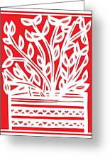 Kimbrell Plant Leaves Red White Greeting Card