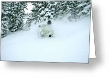 A Man Skiing In Powder Near South Lake Greeting Card