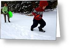 A Young Boy And Mother Sledding Greeting Card