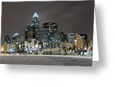Charlotte Queen City Skyline Near Romare Bearden Park In Winter Snow Greeting Card