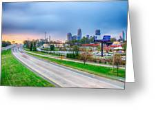 Early Morning Sunrise Over Charlotte City Skyline Downtown Greeting Card