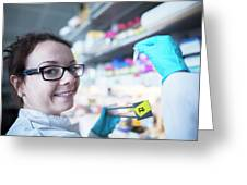 Female Scientist In Laboratory Greeting Card