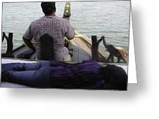 Lady Sleeping While Boatman Steers Greeting Card
