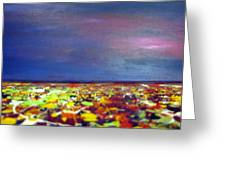 Modern Abstract Painting Original Canvas Art  Sunset By Zee Clark Greeting Card