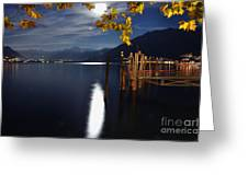 Moon Light Over An Alpine Lake Greeting Card
