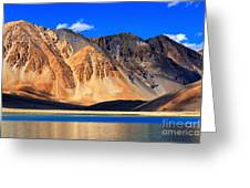 Mountains Pangong Tso Lake Leh Ladakh Jammu And Kashmir India Greeting Card