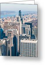 New York City Manhattan Midtown Aerial Panorama View With Skyscr Greeting Card