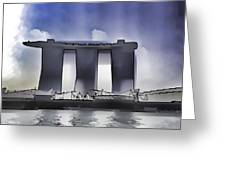 View Of The Towers Of The Marina Bay Sands In Singapore Greeting Card