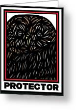 Pettry Owl Blue Brown White Greeting Card