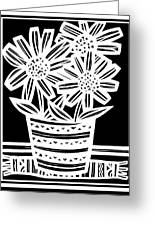 Imbue Flowers Black And White Greeting Card
