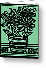 Evocative Flowers Red Blue Green Greeting Card