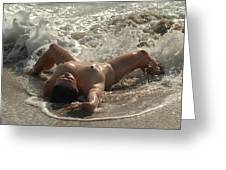 8470 Nude Island Girl Lying In Surf Greeting Card