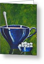 8x10 Tea Cup With Sugar Cubes Greeting Card