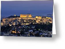 Acropolis Of Athens During Dusk Time Greeting Card