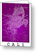 Cali Street Map - Cali Colombia Road Map Art On Colored Back Greeting Card