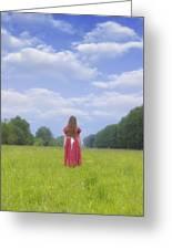 Girl On Meadow Greeting Card