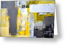 Busy Busy - Grey And Yellow Abstract Art Painting Greeting Card