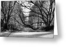 9 Black And White Artistic Painterly Icy Entrance Blocked By Braches Greeting Card