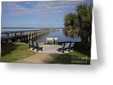 Melbourne Beach Pier In Florida Greeting Card